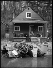 1 56 (joespix) Tags: street blackandwhite film wet analog trash garbage fuji porch buckets bags frontyard gosteelers fujiga645 ga645 aristaeduultra400 ambridgepa developathome