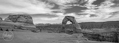 Arches National Park_Delicate Arch_Panorama BW (earladams15) Tags: panorama landscape utah blackwhite sandstone unitedstates cloudy naturallight moab southernutah archesnationalpark delicatearch