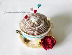 cream cup (Olilchen) Tags: cup coffee rose heart tea crochet pins latte amigurumi cushion doily saucer