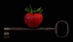 Balance (njk1951) Tags: stilllife strawberry key health balance nutrition onblack goodbalance tabletopphotography redstrawberry giantkey antiquekey onestrawberry truthandillusion