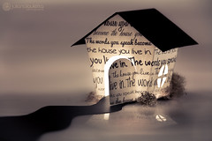 "146/365 ""The words you speak become the house you live in"" (Juliana Lauletta) Tags: roof light house window paper words bush origami soft quote path letters monochromatic inside meaning hafez paperhouse 365days 365project julianalauletta thewordsyouspeakbecomethehouseyoulivein"