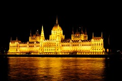 Parliament Building (YuriZhuck) Tags: city light reflection architecture night river europe hungary budapest parliament danube