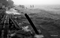 Storm (mswan777) Tags: bw white lake seascape black nature water weather fog landscape nikon rocks waves michigan great lakes filter polarizer d5100