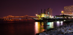 New Orleans @ Night (John Martindale) Tags: city bridge river mississippi lights louisiana long neworleans shutter miss connection crecent canon5dmarkii