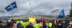 A winter PROTEST Stop the Budget (spelio) Tags: people house demo budget politics crowd protest july parliament flags canberra abbott act speeches getup 2014 australiancapitalterritory