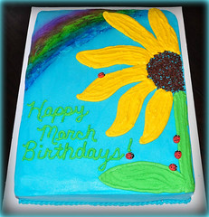 Rainbow sunflower cake by Angela, Linn County, IA, www.birthdayakes4free.com