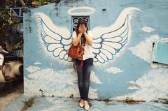 Kate / July 26, 2014 (Pumpkin Chief) Tags: people wall angel wings taiwan tainan playful wallpainting    sonynex3n nex