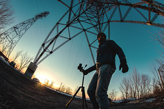 Connected (Frédéric T. Leblanc) Tags: light sky sunset people fisheye composition canon t3i teen teenager teenage moment inthemoment spontanious quebec canada blue cold shooting electric lines rokinon 8mm amateur street
