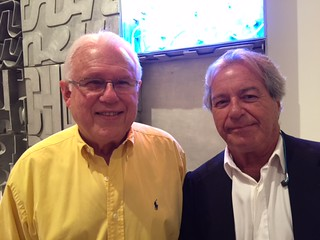 Artist Humberto Calzada with collector Andres Blanco at the Emilio Sanchez opening