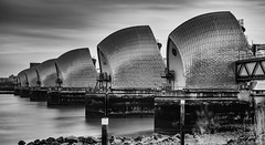 Thames Barrier - Overcast Morning (Aleem Yousaf) Tags: london thames barrier path river flood protection long expousre neutral density lee big stopper blackandwhite monochrome water sky clouds d800 2470mm outdoor architecture engineeering