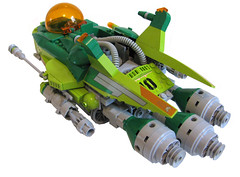Bullfrog armoured fighter (mediocrelego) Tags: lego bullfrog starfighter fighter scifi minifig scale green grey transorange armor heavy