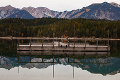 Dock (DJNstudios) Tags: eibsee germany austria zugspitze duck foliage snow peak mountain reflection lake see dock leaves colors