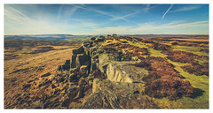 On the Edge. (Ian Emerson) Tags: peakdistrict derbyshire hiking walking rocks sky clouds trails heather grass landscape outdoor photography scenic
