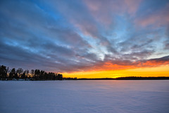 Snowy lake (ArtDvU) Tags: sunset dusk wideangle 1020 northern ostrobothnia lake lakescape landscape evening finland canon eos 7d mkii march spring snow icy winter