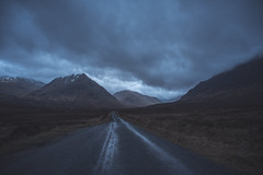 Gloomy Glencoe (Lynleigh Cooper) Tags: scotland scenery scottish scottishhighlands visitscotland beauty beautiful beautyinnature landscape landscapephotography landscapes travel mountains mountain sky clouds dusk gloomy mood moody vacation valley winter nikon nikond750 d750 lookslikefilm world muted blue road europe nature naturalbeauty natureshot naturephotography wideangledlens wideangle fullframe photography photo photooftheday photograph new primelens highlands dark evening explore adventure awesome amazing