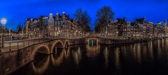 Amsterdam Canal Panorama (mcalma68) Tags: keizersgracht leidsegracht amsterdam architecture canal canals blue waterfront bridge night long exposure panorama cityscape