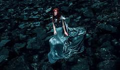 Desolace (Kindra Nikole) Tags: desolate despair rocky boulders grey silver cerulean blue red hair woman lady girl armor armored fantasy kindra nikole
