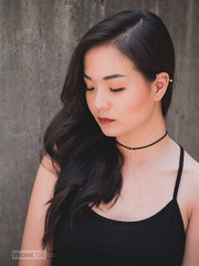 An (Vincent F Tsai) Tags: portrait fashion beauty hair pose asian girl young beautiful shy choker necklace strap concrete texture delicate panasonic lumixgx8 sigma60mmf28dn