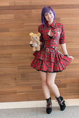 Plaid Dress (Ron Scubadiver's Wild Life) Tags: girl woman people candid style nikon 50mm houston tx anime matsuri cosplay costume plaid boots