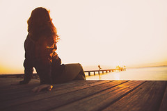 "Sunset. (¡arturii!) Tags: wow amazing awesome superb interesting stunning impressive nice beauty great arturii arturdebattk ""canonoes6d"" gettyimages travel trip tour route viatge holidays vacations girl russian youth young cool visual sunset view peer pier dock deck wood sitting contemplating resting calm deltsdelebre catalonia catalunya cataluña europe spian sky landscape mediterranean sea golden light sun longhair love"