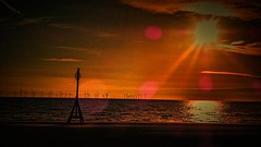 Sunset over Liverpool bay (Phil Longfoot Photography) Tags: sunset goldenhour dusk coastline coast merseyside lensflair flair lens