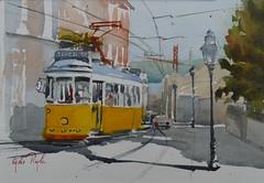 Le jaune de Lisbonne (lydie.pieplu) Tags: aquarelle streetscene scènederue watercolor lisbonne lisboa