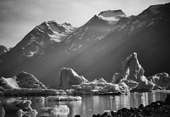 Sunbeams & Icebergs (Never Exceed Speed) Tags: mountains blackandwhite scenery landscape lakegeorge alaska sunbeam iceberg lake