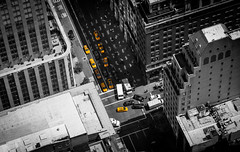 NYC Cabs (francis.mck.photo) Tags: above aerial buildings cabs cars city concrete daylight life newyork path shadow small sunlight transport truck empire new york usa splash colour yellow travel sun
