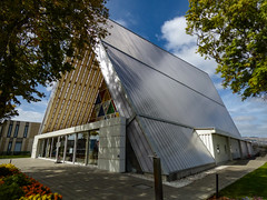 The Cardboard Cathedral on a Sunny Day (Steve Taylor (Photography)) Tags: cardboard cathedral tubes architecture building garden roof window door metal newzealand nz southisland canterbury christchurch cbd city tree branch leaves triangle shadow sunny sunshine cloud autumn