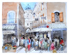 Apt - Provence - France - le marché (guymoll) Tags: apt provence france marché market aquarelle watercolour watercolor lumière shadows light ombre