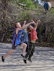 Future NBA or astronauts? (Pejasar) Tags: boys play sport basketball leap jump shot friends party fun energy action kids children grandson air