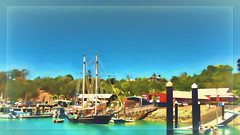 At the marina (boeckli) Tags: airliebeach queensland australia boats outdoor water marina waterfront textures texturen topaz summer sun sunshine cruise ferien holidays farbig bunt colourful painterly dockbay