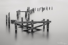 Swanage Old Pier (DanRansley) Tags: britain danransleyphotography dorset england englishchannel greatbritain isleofpurbeck swanage swanageoldpier uk abandoned blackandwhite decay derelict fineart longexposure monochrome pier ruin sea water wood