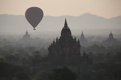 floating by (PawL23) Tags: bagan balloonsoverbagan balloon silhouette shadow mist sunrise temple stupa landscape myanmar burma asia