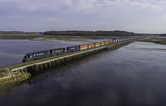 Sailing through Scarborough (Thomas Coulombe) Tags: panamrailways panam waay district2 emdsd402m sd402m freighttrain train scarborough maine saltmarsh dunstanriver drone aerial dji phantom