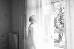 Floating out of the window (@ Karin) Tags: ghosts spirits transparant floating window mysterious portret women oldhouse curtains grey blackwhite blackandwhite bw