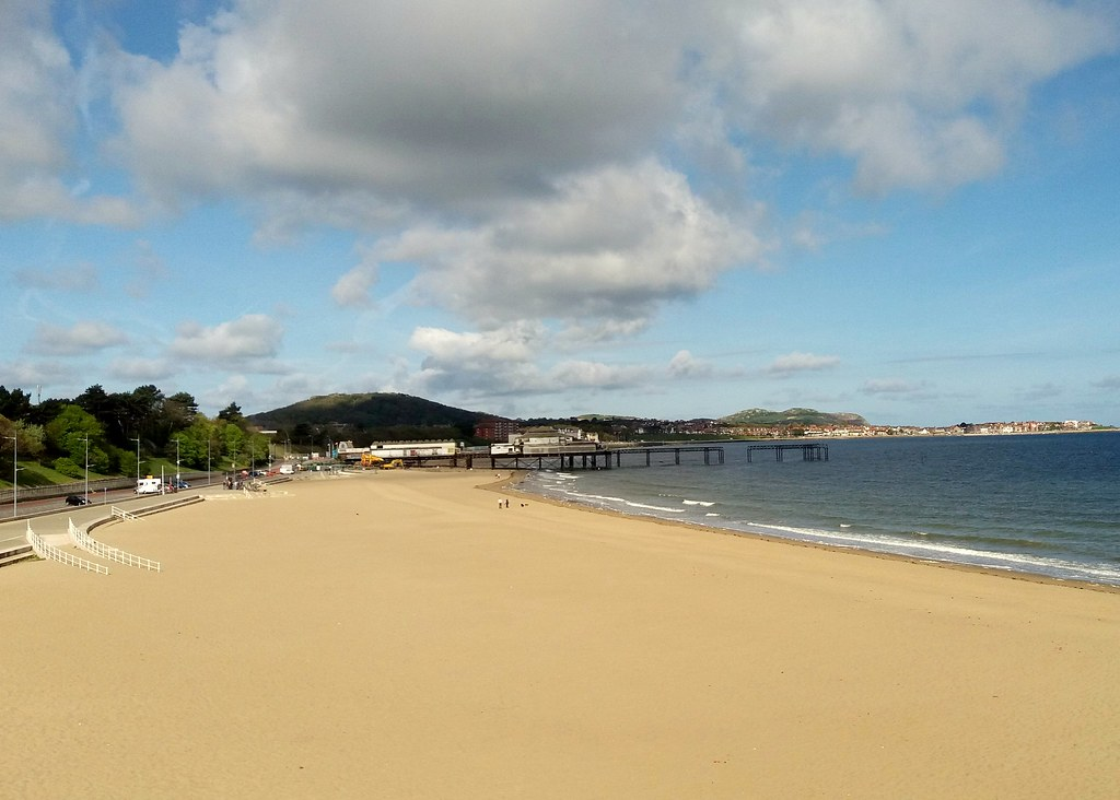 An empty Colwyn Bay beach.