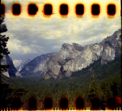 Yosemite National Park (K e v i n) Tags: california ca trees summer vacation mountains film nature 35mm landscape outside outdoors nationalpark holga scenery scan yosemite yosemitenationalpark sierranevada sprockets holga120n sprocketholes publicland agfa400 epsonv500 july2013 superheadz35mmadapter widelens05x