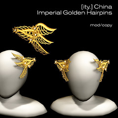 [ity.] Imperial Golden Hairpins (Serena.Ity) Tags: china tiara eye floral japan angel french asian japanese gold chinese wing horns jewelry piercing geisha gore imperial warrior crown pearl oriental jewels mistress hairpin groan headdress courtesan