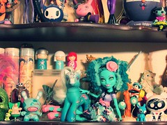 Shelf 2014 detail (miss_skittlekitty) Tags: cute toys dolls collection collectables playtime rement smallthings dunny tokidoki skelanimals monsterhigh pinkycooper