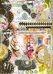 Art Journal Page  - Clouded (Roben-Marie) Tags: flower mixedmedia circles painted journal stitched stamped artjournal layered journaling collaged artjournaling doodled robenmarie
