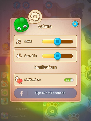 Jelly Splash Settings: screenshots, UI