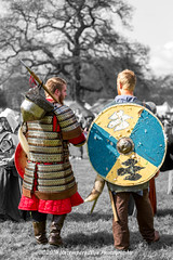 [2014-04-19@15.37.10a] (Untempered Photography) Tags: history monochrome costume helmet medieval weapon shield reenactment combatant spear selectivecolour canonef50mmf14 perioddress polearm gambeson poleweapon untemperedeye canoneos5dmkiii untemperedeyephotography glastonburymedievalfayre2014