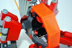 Quad-Hopper (M2com McKinney) Tags: red orange black four lego scifi hopper mecha mech minfig