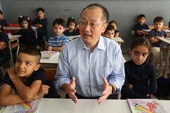 World Bank Group President Jim Yong Kim visits classrooms filled with Syrian refugee students at the Bourjhammoud Public School #2 (World Bank Photo Collection) Tags: school lebanon education classroom refugees middleeast beirut worldbank syrian jimkim jimyongkim
