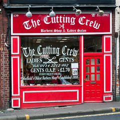 The Cutting Crew (Tim Dennell) Tags: ladies red white haircut shop sheffield barber salon hairstyle oldest londonroad hairdressers barbers 1888 cuttingcrew