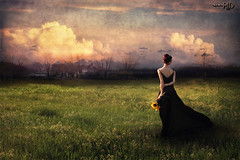Going Home (Spoken in Red) Tags: clouds dusk sunflowers goinghome redhair oldhouses winsome longskirt fieldofflowers moodysky womanportrait ruralfield barearmsandshoulders spokeninred
