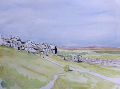 Cow and calf rocks Ilkley (John Harrison, artist) Tags: yorkshire wash watercolour washes lineandwash inkandwash