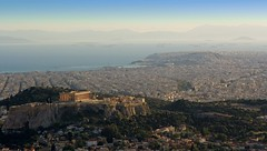 Athens, Greece, 2014 (Photox0906) Tags: city blue houses sea sky panorama mer port buildings boats island temple harbor marine europa europe mediterranean harbour antique maisons horizon hill capital athens panoramic bateaux cargo parthenon bleu greece ciel plaka stadt huge capi