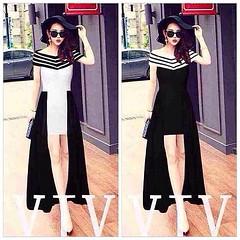 New!!! Korea Dress เดรสสั้นยาวปาดไหล ตัวเดรสสั้นติดระบายรอบด้วยผ้าสีดำยาว ปาดไหลลายริ้ว 2สี ขาว ดำ Free size  ราคา 590- ฟรีems korea style!!  >>> สั่งสินค้า ขอรายละเอียดเพิ่มเติม  ID LINE: trynbuyshop, spany Ig: trynbuyshop Facebook:Trynbuy shop  #lynarou
